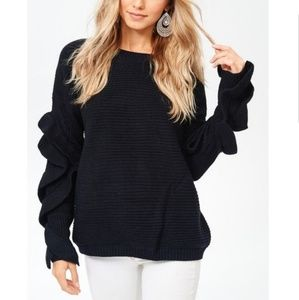 Sweaters - Just in!!! Black Oversized Ruffle Sleeves Sweater
